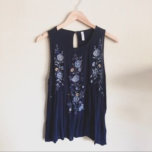 Beautiful Floral Embroidered Navy Tank Top!